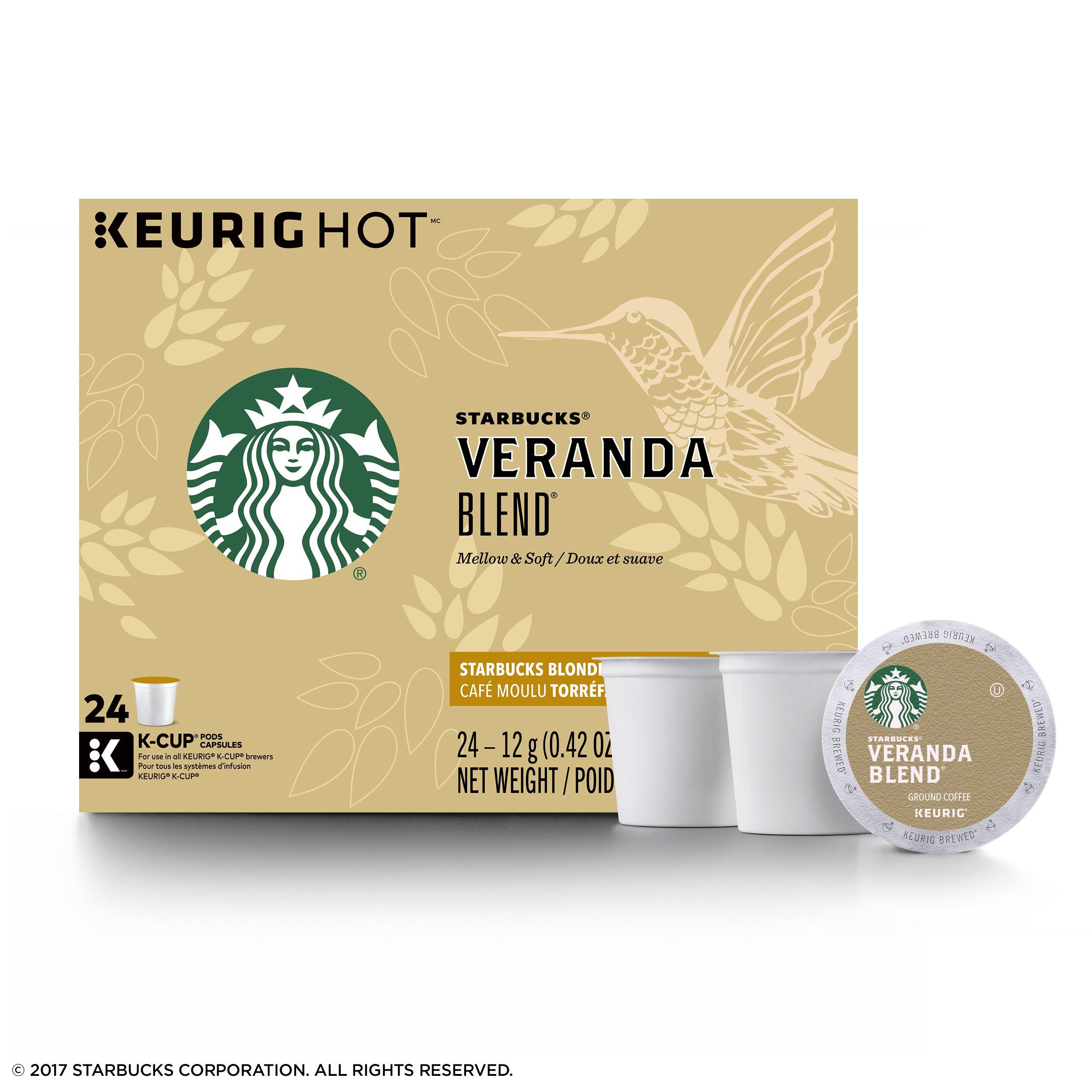 Starbucks Veranda Blend Blonde Light Roast Single Cup Coffee for Keurig Brewers, 1 Box of 24 (24 Total K-Cup pods)