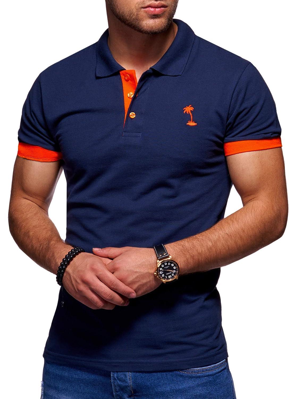 behype. Herren Kurzarm Basic Kontrast Polo-Shirt 20-0337