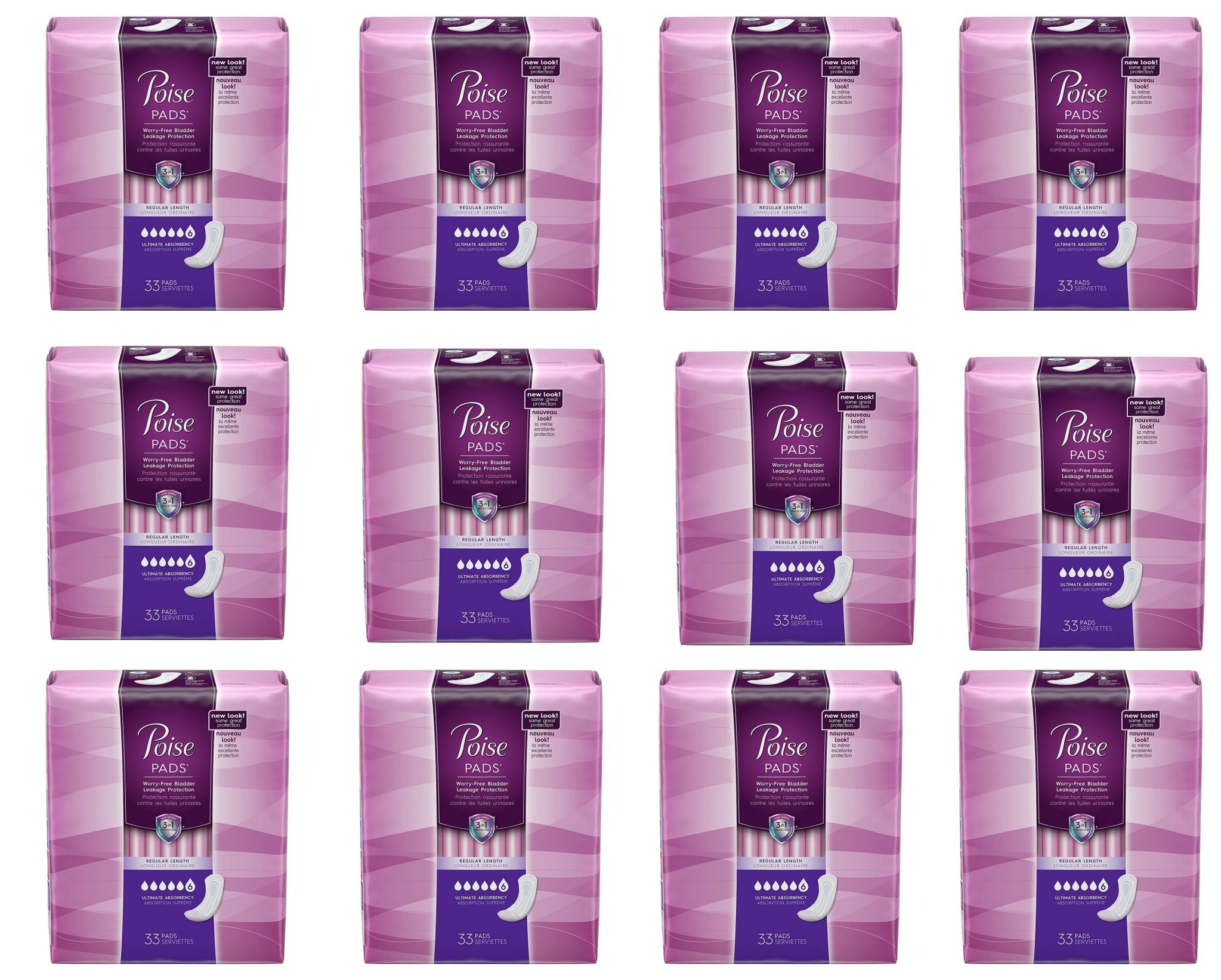 Poise Incontinence Overnight Pads, Ultimate Absorbency, Long, kqhTpf 12 Pack (33 Count)