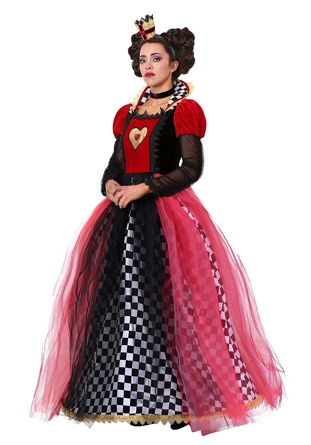 Damens's Ravishing Queen of Hearts Fancy Dress Costume Small
