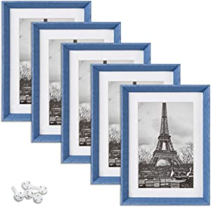 upsimples 5x7 Picture Frames with High Definition Glass,Rustic Photo Frames for Wall or Tabletop Display,Set of 5,Blue