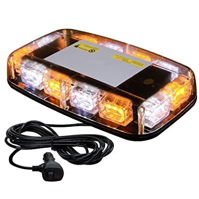 VKGAT 36 LED Roof Top Strobe Lights, Emergency Hazard Warning Safety Flashing Strobe Light Bar for Truck Car, Waterproof and Magnetic Mount 12-24V (Amber/White): Automotive