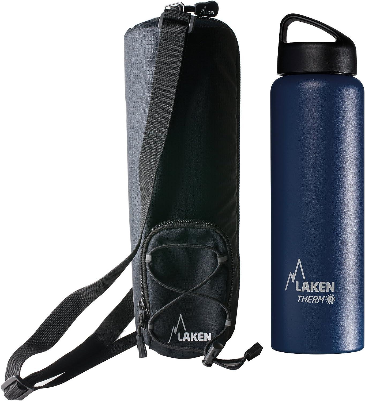 Laken Botella Térmica 1 Litro de Inoxidable 18/8 y Doble Pared de Vacío Classic (Boca Ancha) + Funda térmica Aislante con Bandolera 1,5L, Azul