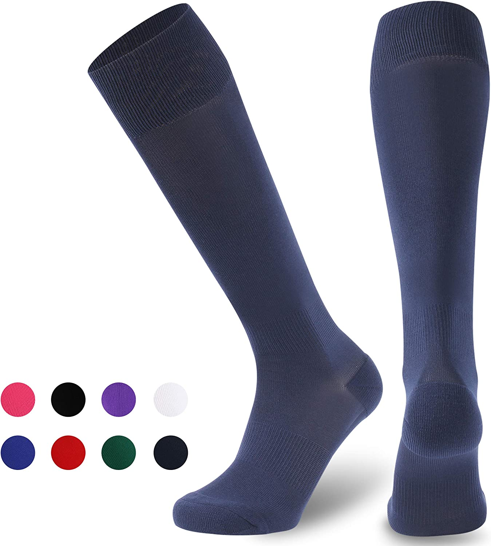 Ristake Soccer Socks, Unisex Knee High Football Baseball Volleyball Cheerleading Team Colored Tube Socks Adult/Youth