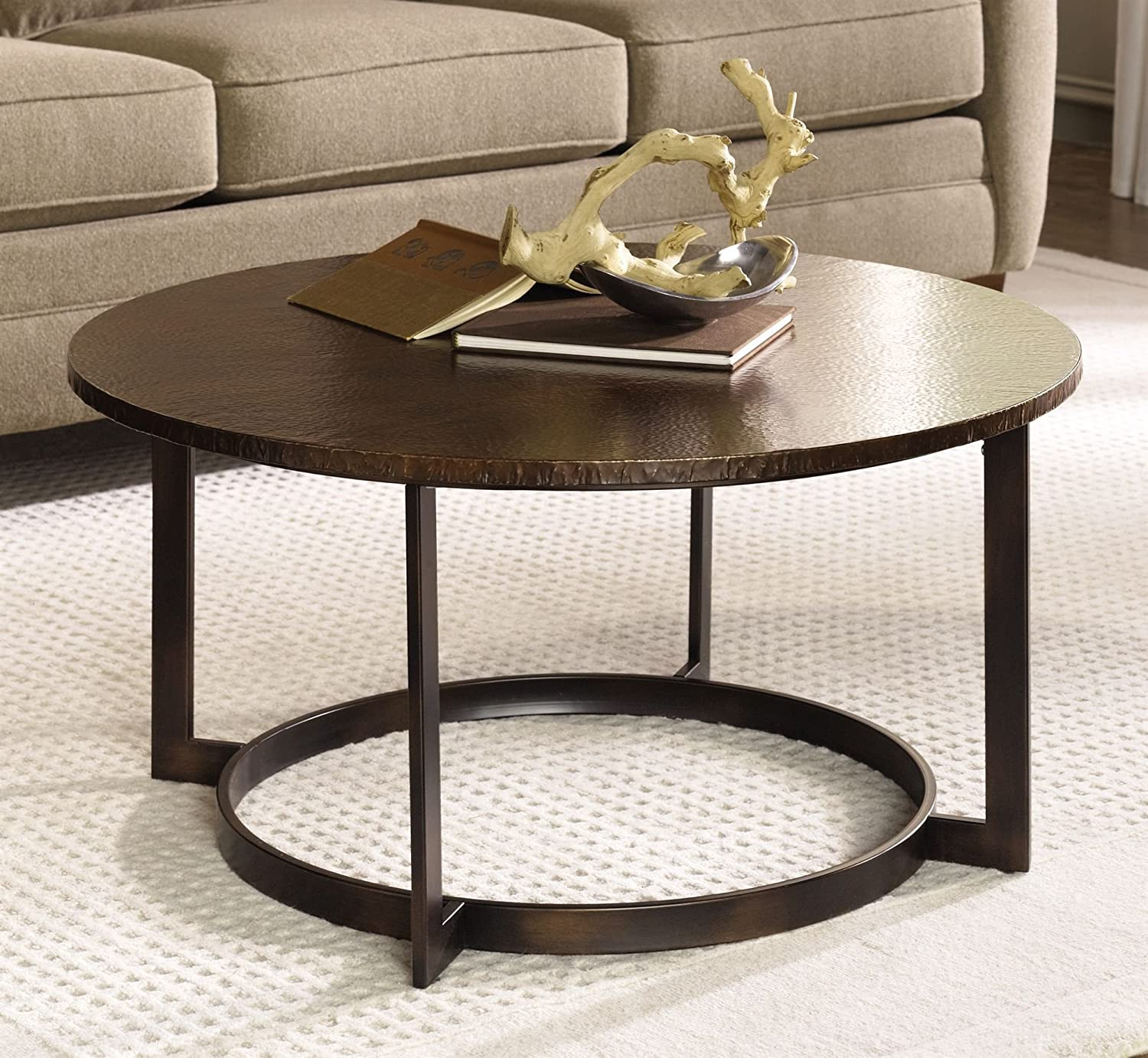 Amazon Hammary Nueva Round Cocktail Table in Copper Kitchen