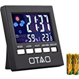 Otao Indoor Thermometer Hygrometer Humidity Monitor Backlight Digital Temperature Gauge Humidity Meter with Clock(2