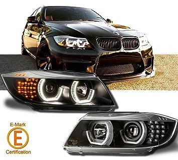Negro de lámpara de Faro para BMW E90 E91 3, LED de ángel de la