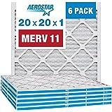 "Aerostar 20x20x1 MERV 11 Pleated Air Filter, AC Furnace Air Filter, 6 Pack (Actual Size: 19 3/4""x 19 3/4"" x 3/4"")"