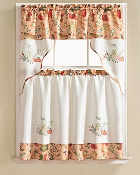 Rt Designers Collection Vegetable Urban Embroidered Tier And Valance Kitchen Curtain Set Amazon Ca Home Kitchen
