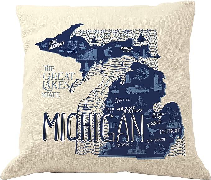 Amazon Com Drupsco Michigan Pillow Covers 18x18 Cotton Linen Michigan Throw Pillow Case Michigan Decorative Pillow Home Kitchen