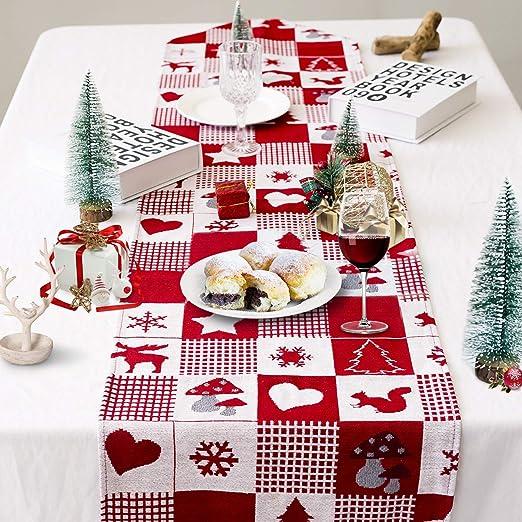 Camino de Mesa Navidad, Rojo Camino de Mesa de Navideño Decoración ...