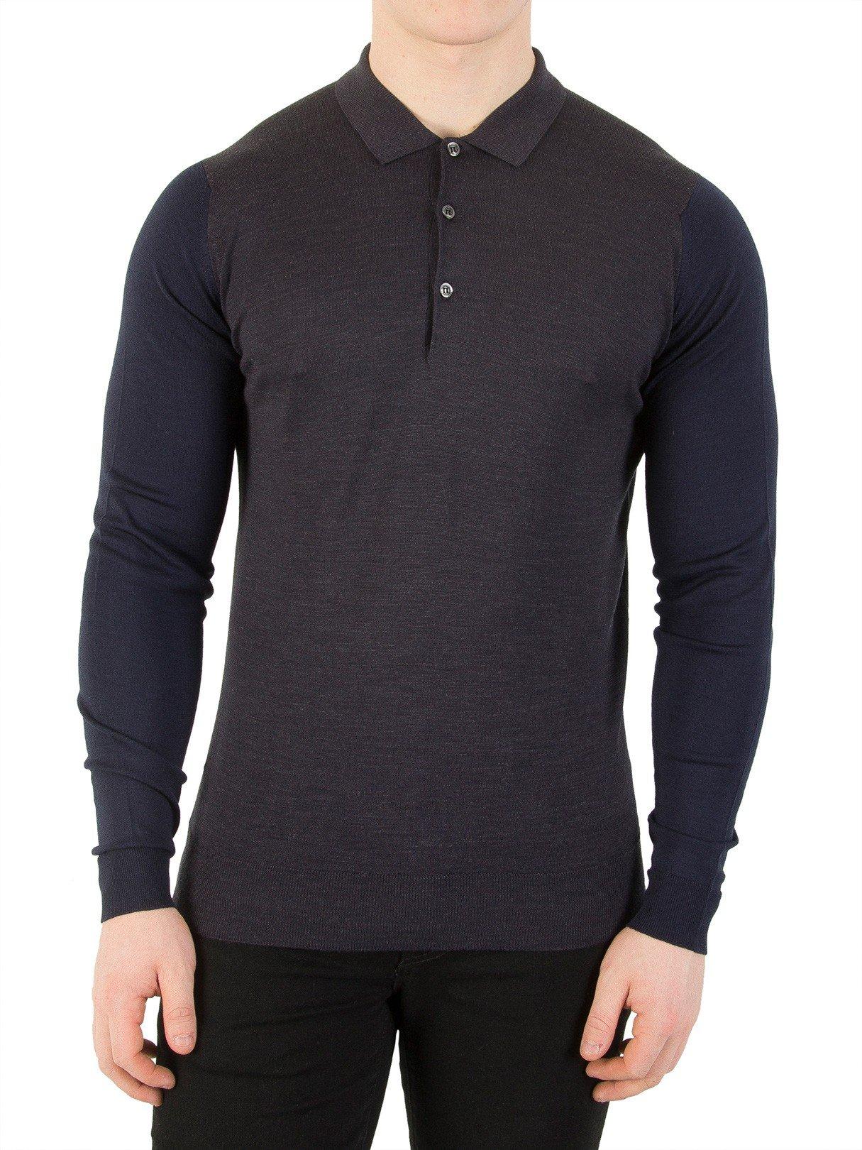 John Smedley Men's Brightgate Longsleeved Colour Block Polo Shirt, Green, Large