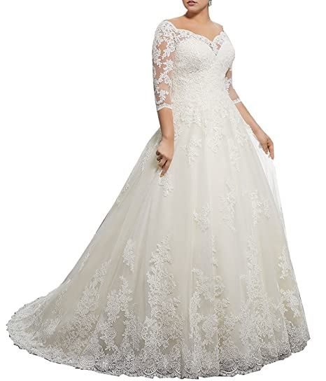 6b825892825 Meledy Women's V-Neck Bridal Gown Trains Lace Sleeves Plus Size ...