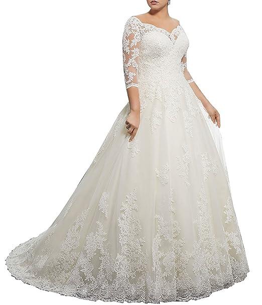 Amazon.com: meledy Mujer V-Cuello Vestido de novia, de ...