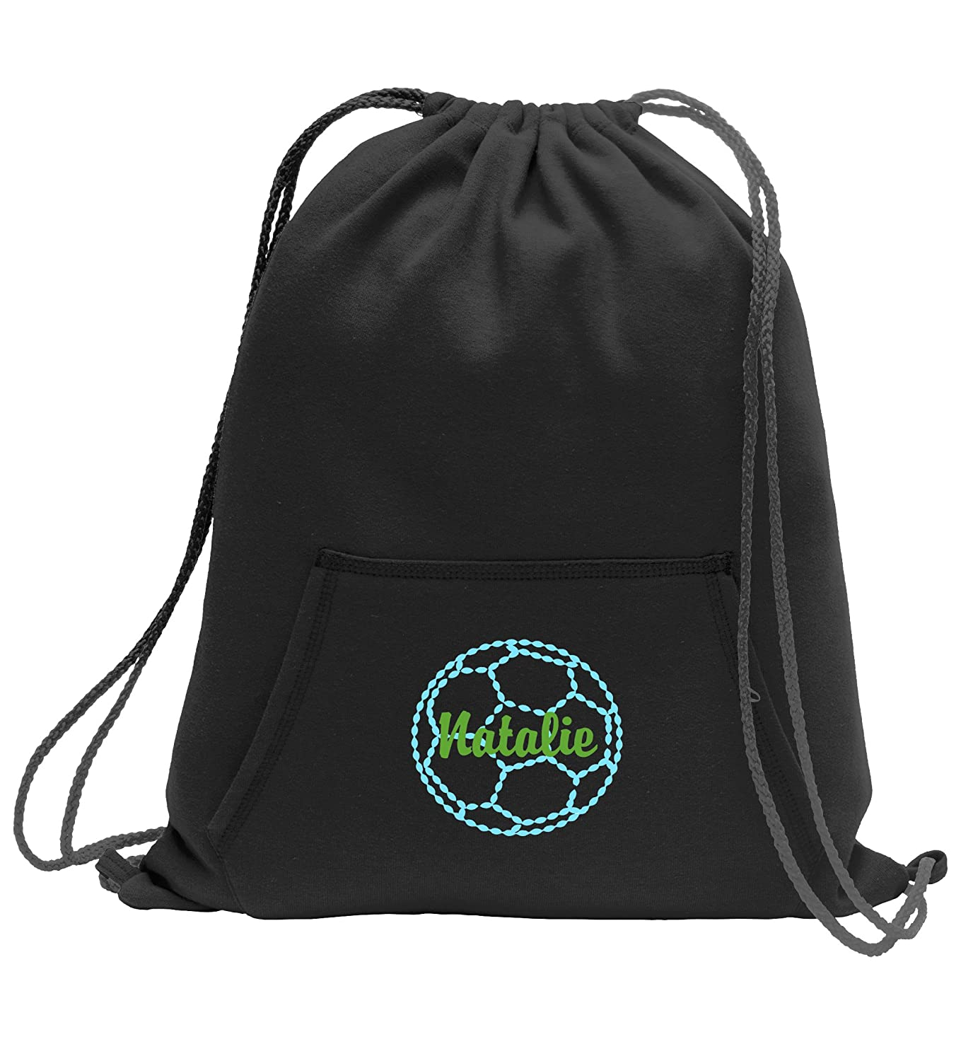 Personalizedサッカー – スウェットシャツCinch Bag with Front Pocket B01LXM1NY1 ジェットブラック ジェットブラック
