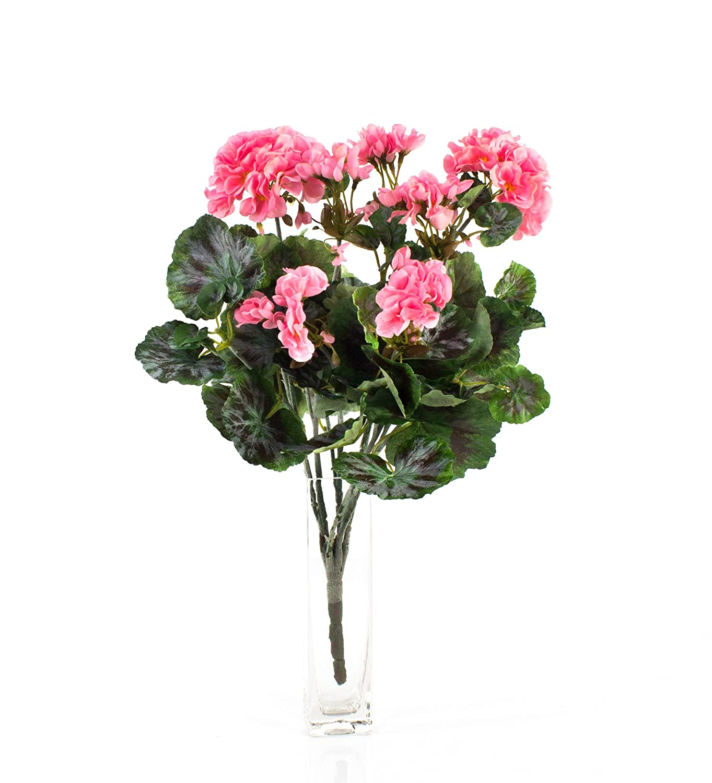Artplants Set 3 x Künstlicher Geranienbusch Merle auf Steckstab, rosa, 45 cm, Ø 25 cm - Künstliche Geranie Kunstblume