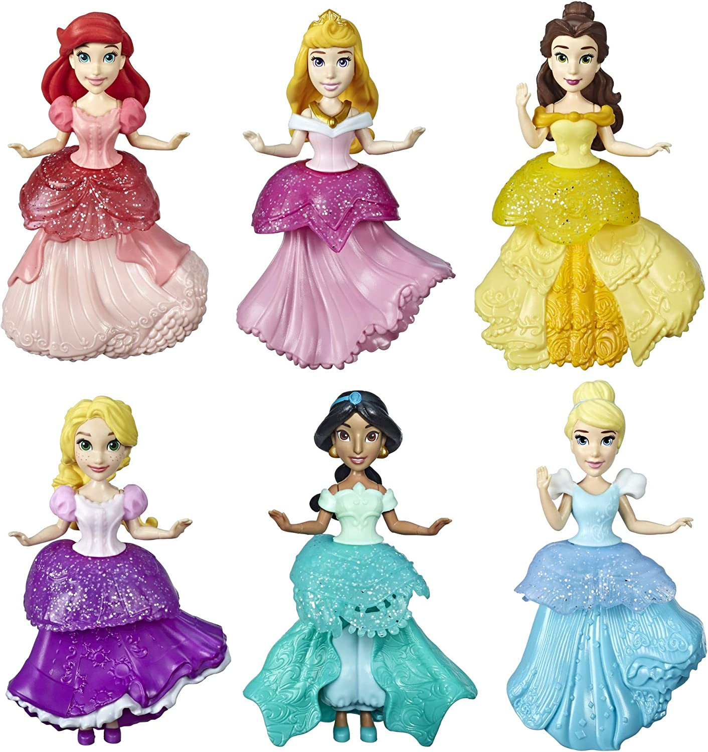 Amazon Com Disney Princess Collectible Dolls Set Of 6 With 6