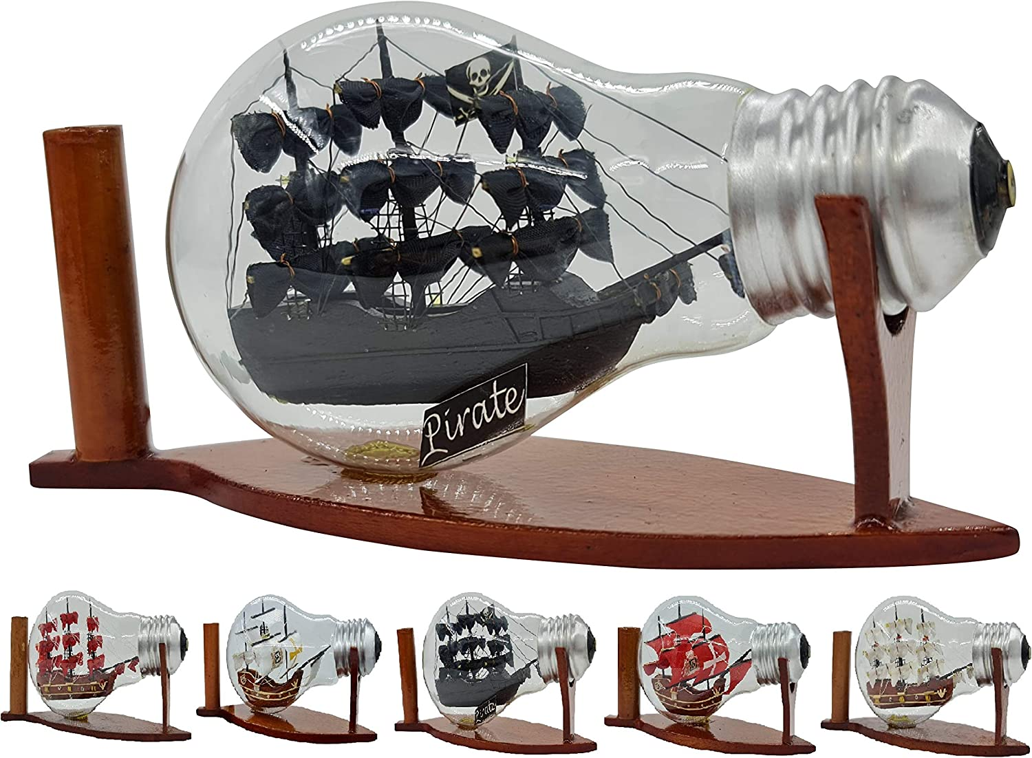 Black Pearl Pirate Ship in a bottle Decorative Glass Nautical Decor Decoration Collection Display Unique Gift Handmade (LAMP-444)