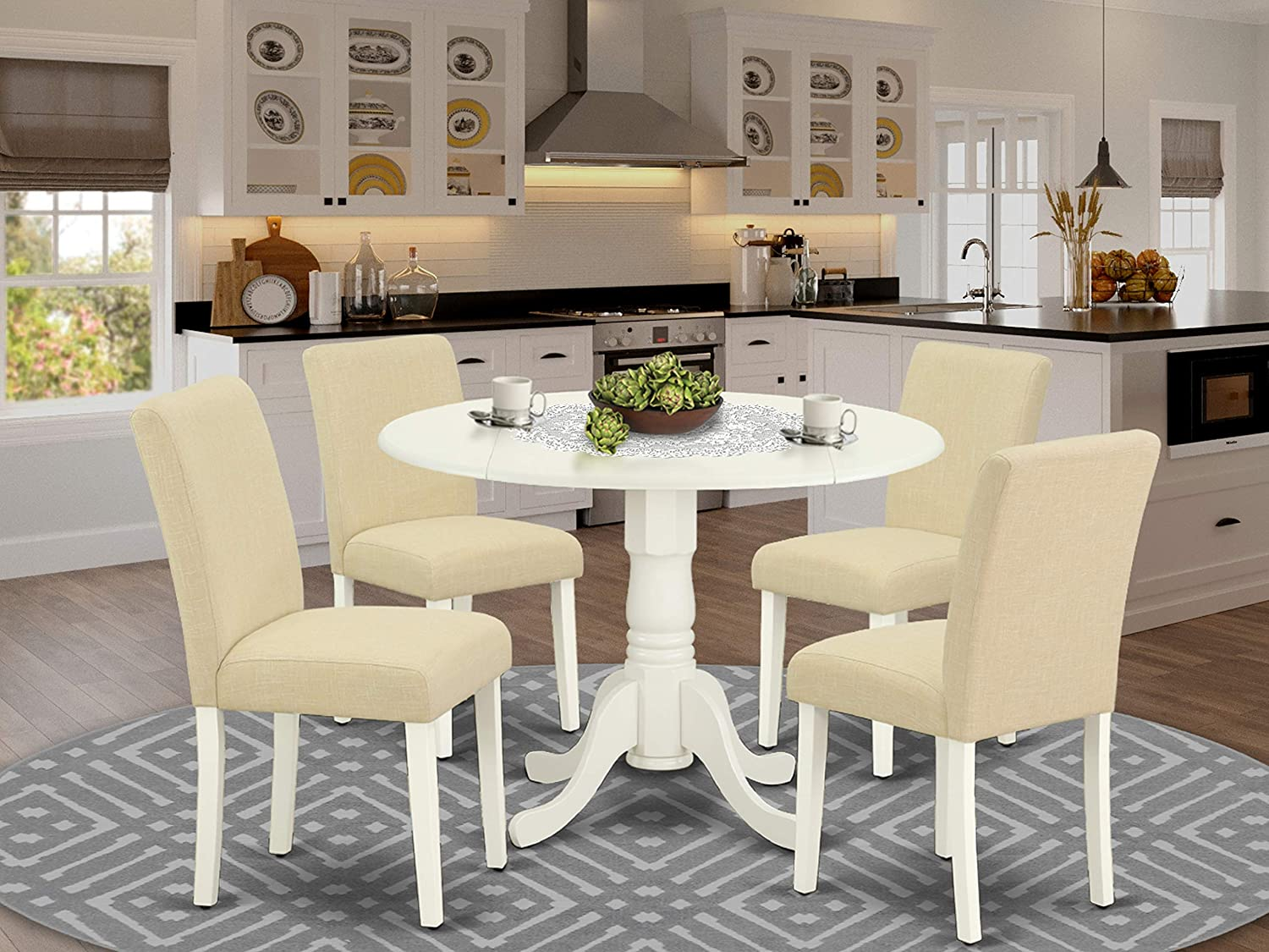 East West Furniture Dinette Set 5 Pieces-Light Beige Fabric Parsons Room Chairs-Linen White Finish Solid wood two 9-inch drop leaves Modern Dining Table and Structure, 5