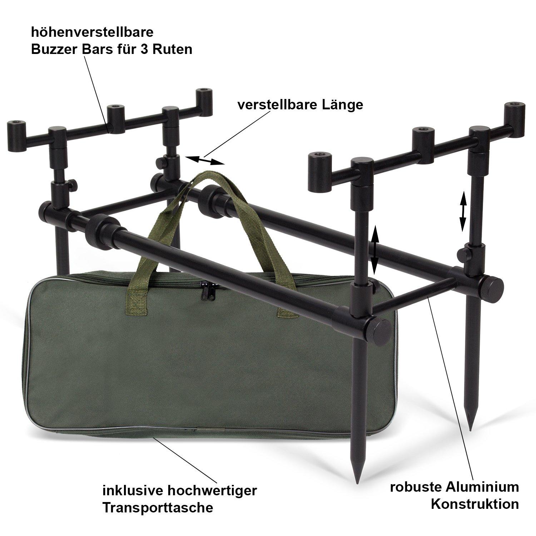 ARAPAIMA FISHING EQUIPMENT Aluminium Rod Pod Rutenauflage mit Teleskopf/ü/ßen f/ür 4 Ruten Rodpod