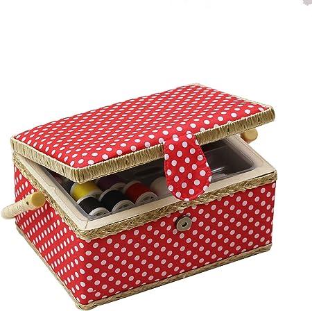 D & D caja de costura cesta organizador con accesorios, hogar caja de costura Kit de costura básicos para hogar y viaje, coser kits regalo Medium Rojo: Amazon.es: Hogar