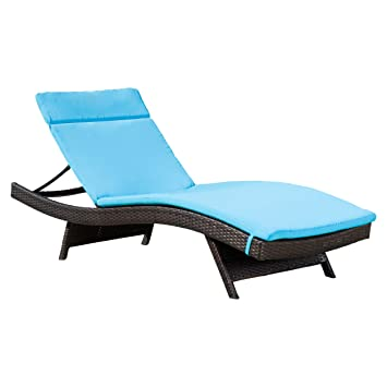 Merveilleux Outdoor Chaise Lounge Cushion, Waterproof Fabric , Set Of 2, Blue