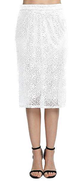 Urban GoCo Mujer Elegant Falda Lápiz de Encaje Color Sólido de OL ...