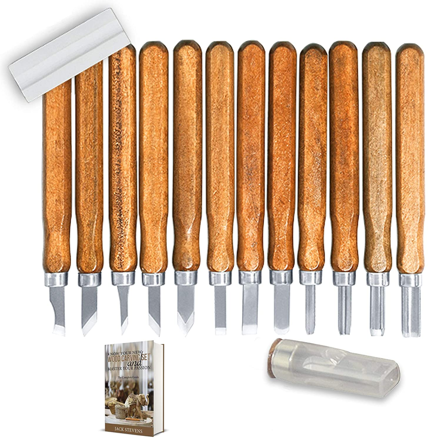 Wood Carving Tools: Carbon Steel, Wooden Handles, Professional. Set of 12 Pieces with Free Sharpening Stone Included. Great for Wood, Linoleum, Plastic, Soap, Wax Carving. Free EBOOK Fast Forward Tools