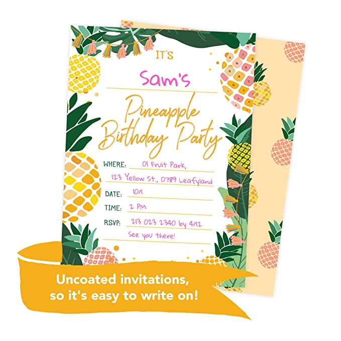 Amazon Pineapple Happy Birthday Invitations Invite Cards 25