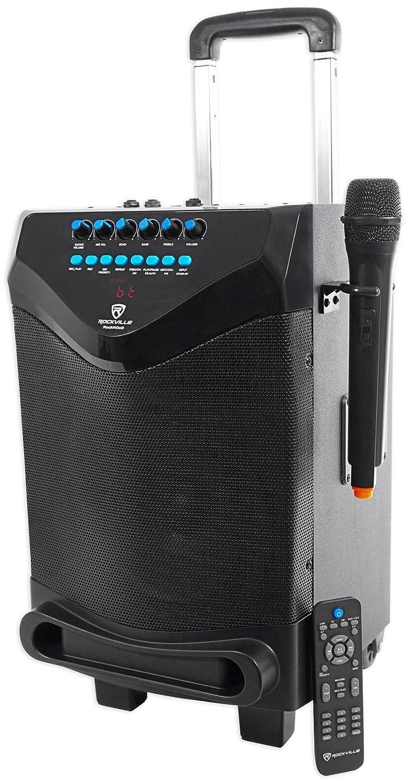 Rockville ROCKnGo 10 Powered Rechargable PA Speaker w Bluetooth + Wireless Mic Audiosavings