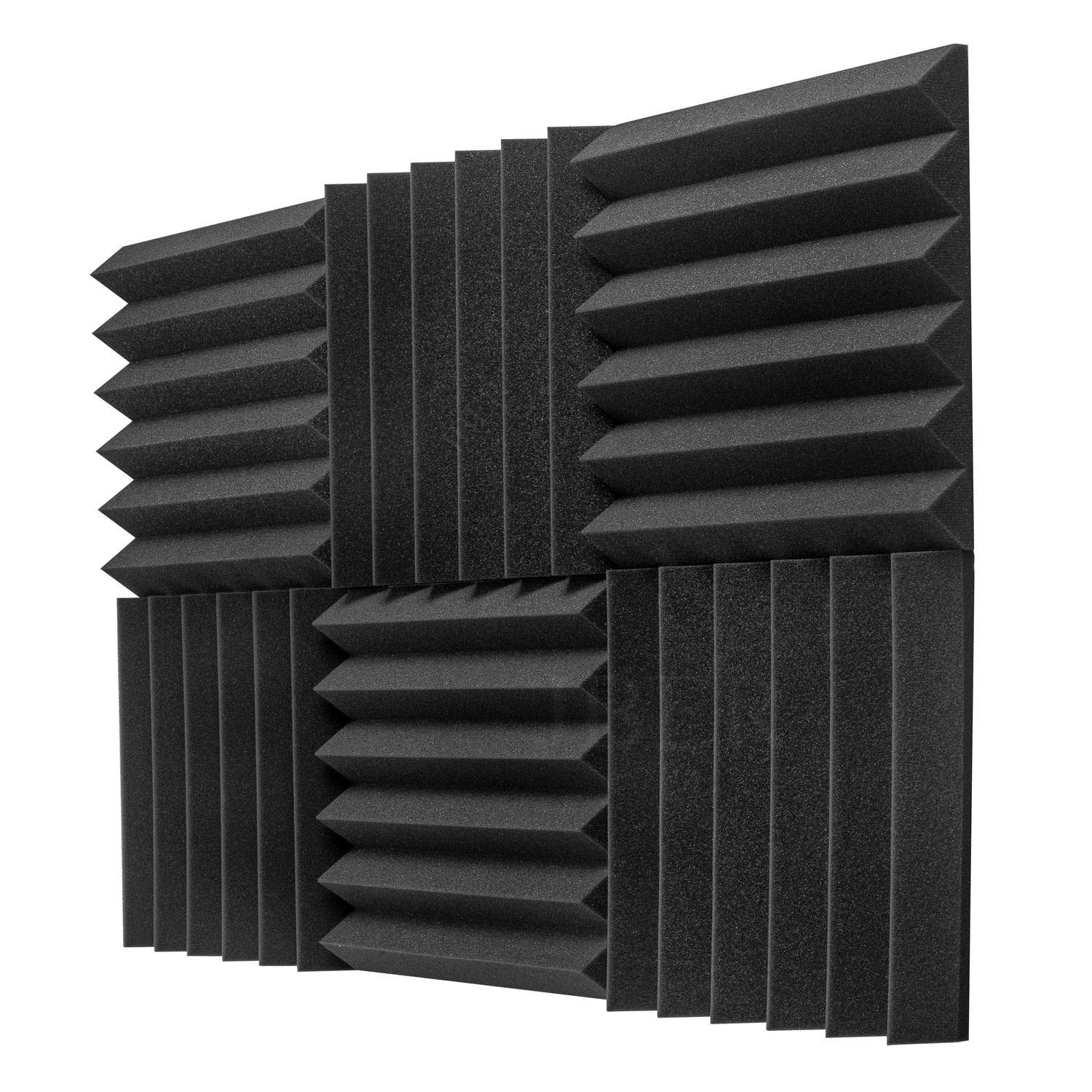 JBER 6 Pack Charcoal Acoustic Panels Studio Foam Wedges Fireproof Soundproof Padding Wall Panels 2'' X 12'' X 12''