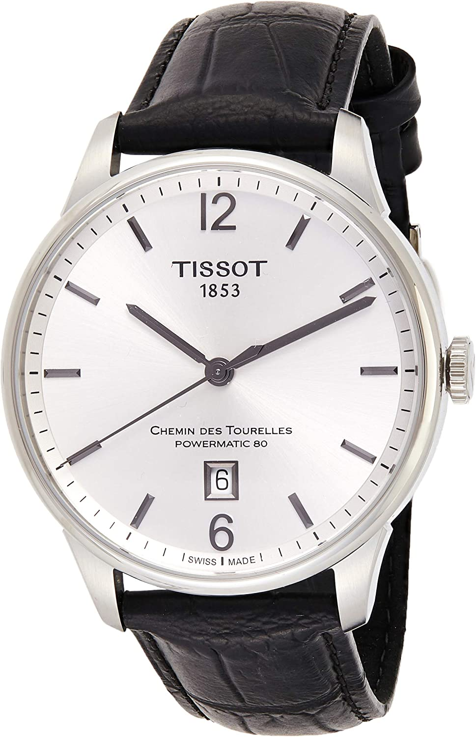 Tissot Men s Chemin Des Tourelles Stainless Steel Swiss-Automatic Watch with Leather Strap, Black, 20 Model T0994071603700