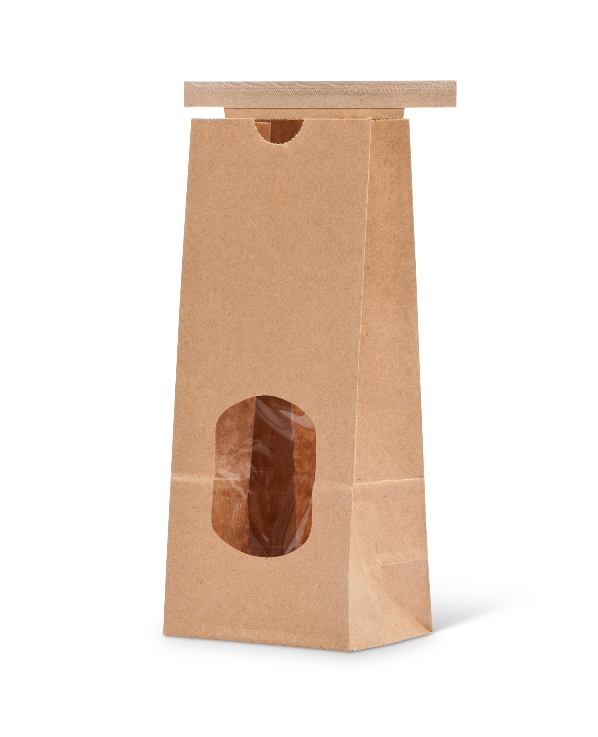 Pacific Bag 150-326W Paper Window Tin-Tie Bag, 41641 lb/ 250 g, Natural Kraft with Polypropylene Liner (Case of 1000)