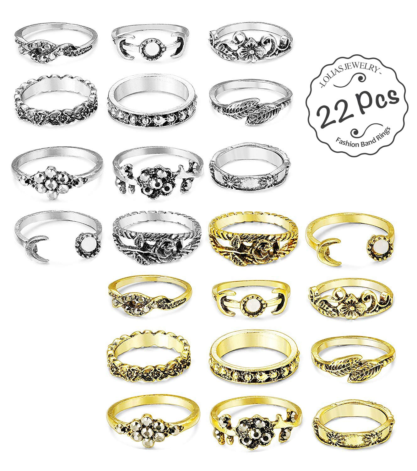 LOLIAS 20 Pcs Vintage Knuckle Ring Set for Women Girls Stackable Rings Set Hollow Carved Flowers L-JBZKR