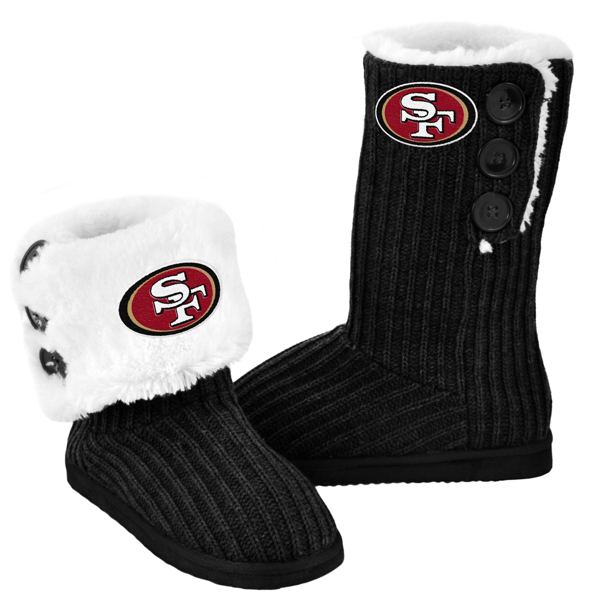 San Francisco 49ers Knit High End Button Boot Slipper Medium