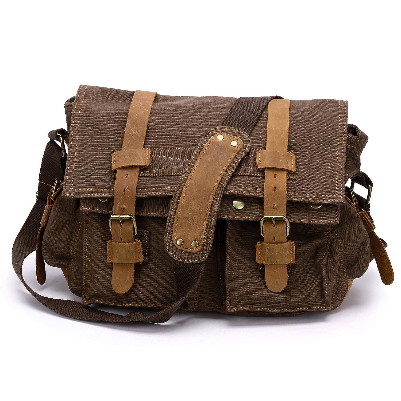 Anladia New Style Vintage Canvas Unisex Messenger Shoulder Bag Leather Trim School Military Shoulder Bag Messenger Bag (Coffee)