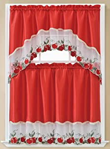 Beatrice Home 3pc Kitchen Curtain and Valance Set/1 Swag Valance and 2 Tiers,2 Tiers Width 30