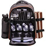 ALLCAMP Picnic Backpack for 4 with Cutlery Set and Blanket, Perfect for Concert, Beach, Park, Camping (Grey)