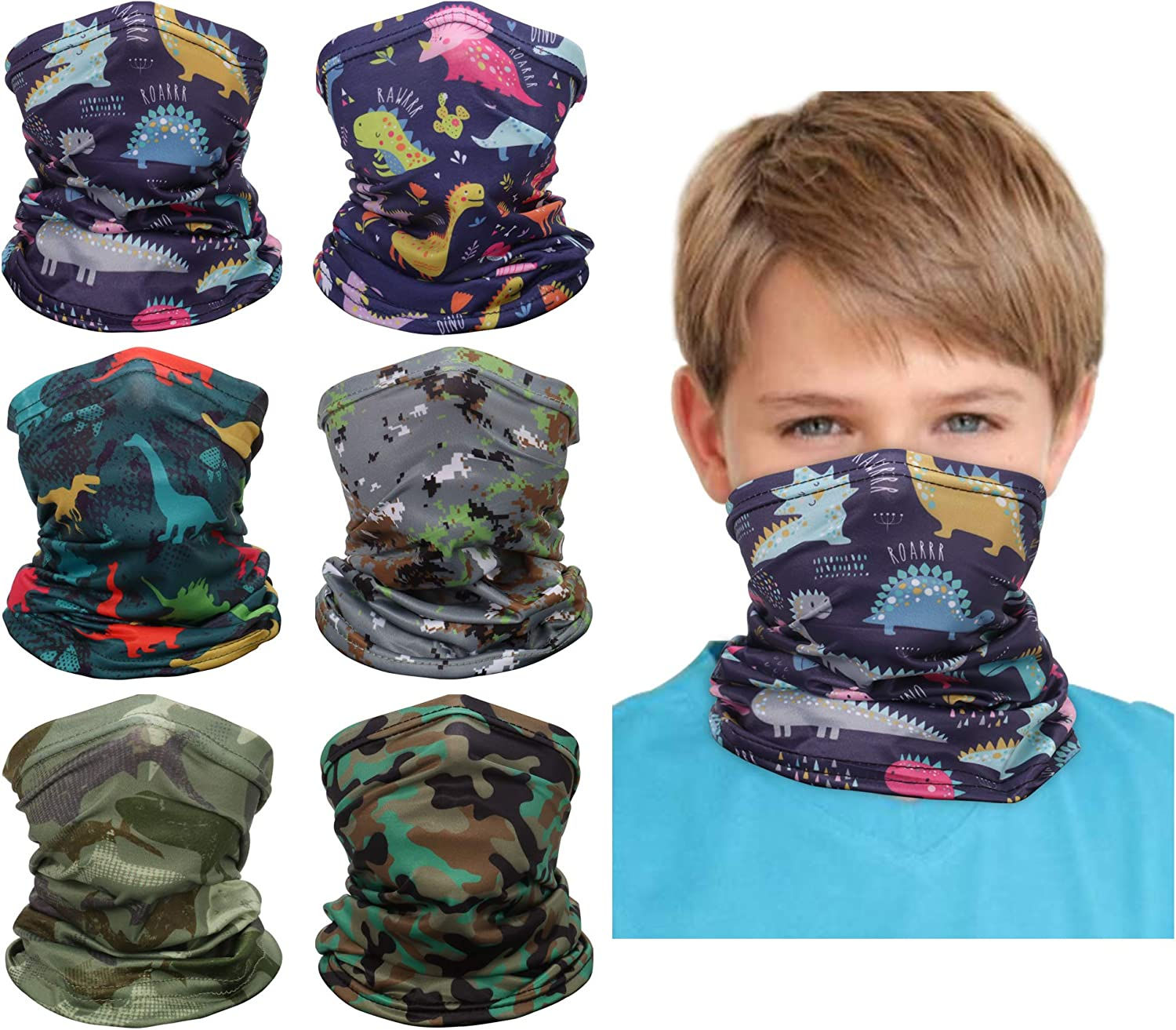 6PCS Kids Youth Neck Gaiter Bandana Tube Face Mouth Cover Scarf Anti Dust Balaclava Headband Cycling Hiking Sport Outdoor for Boys Girls: Clothing