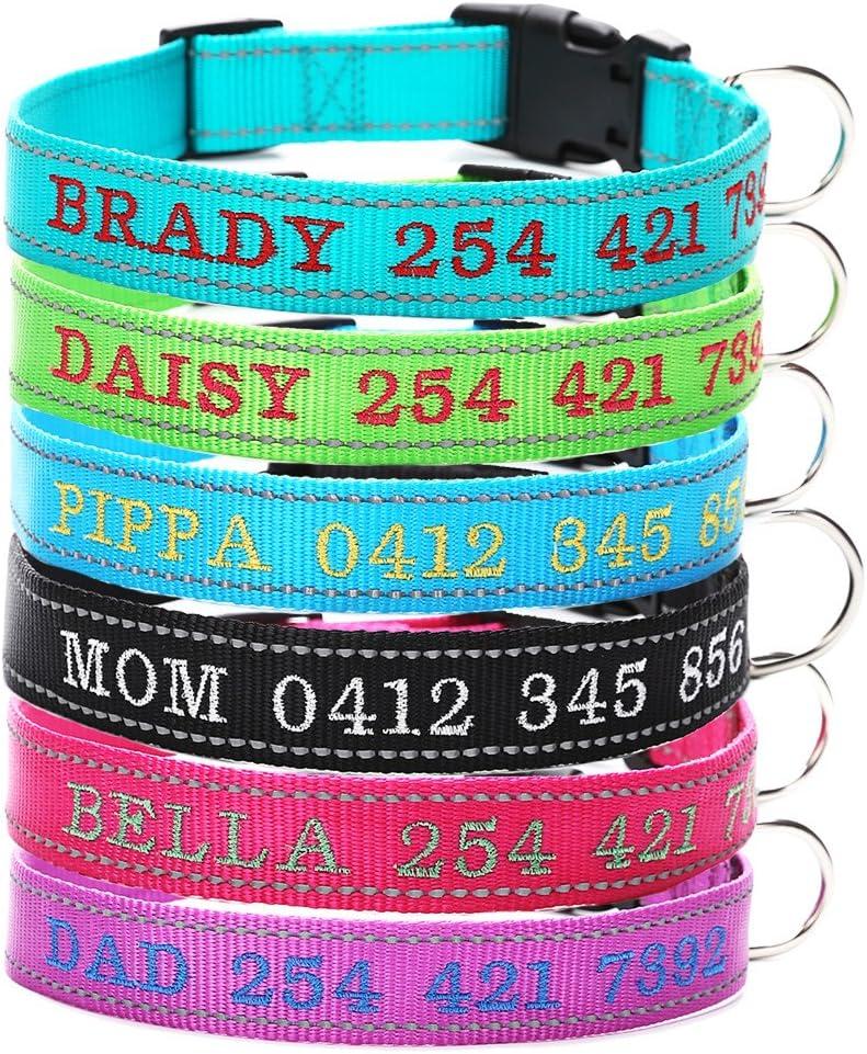 Moonpet Collar de Perro Personalizado - Collar de Perro con Nombre de Perro y número de teléfono-Reflexivo Ajustable Adecuado para Perros machos y Hembras pequeños, medianos y Grandes