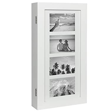 Best Choice Products Wall Mounted Jewelry Armoire Cabinet Organizer W/ 4 Picture Frames