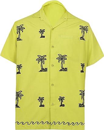 LA LEELA Casual Hawaiana Camisa para Hombre Señores Manga Corta Bolsillo Delantero Surf Palmeras Caballeros Playa Aloha 5XL-(in cms):167-172 Mostaza_W888: Amazon.es: Ropa y accesorios