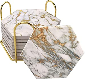 8 Pcs Drink Coasters with Metal Holder Stand, Marble Design Ceramic Coaster Set, Cork Base, for Tabletop Protection, Home Decor, Bar Coasters (Golden)
