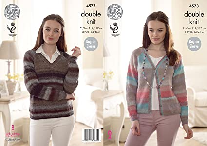 King Cole 4573 Knitting Pattern Womens Easy Knit Sweater And