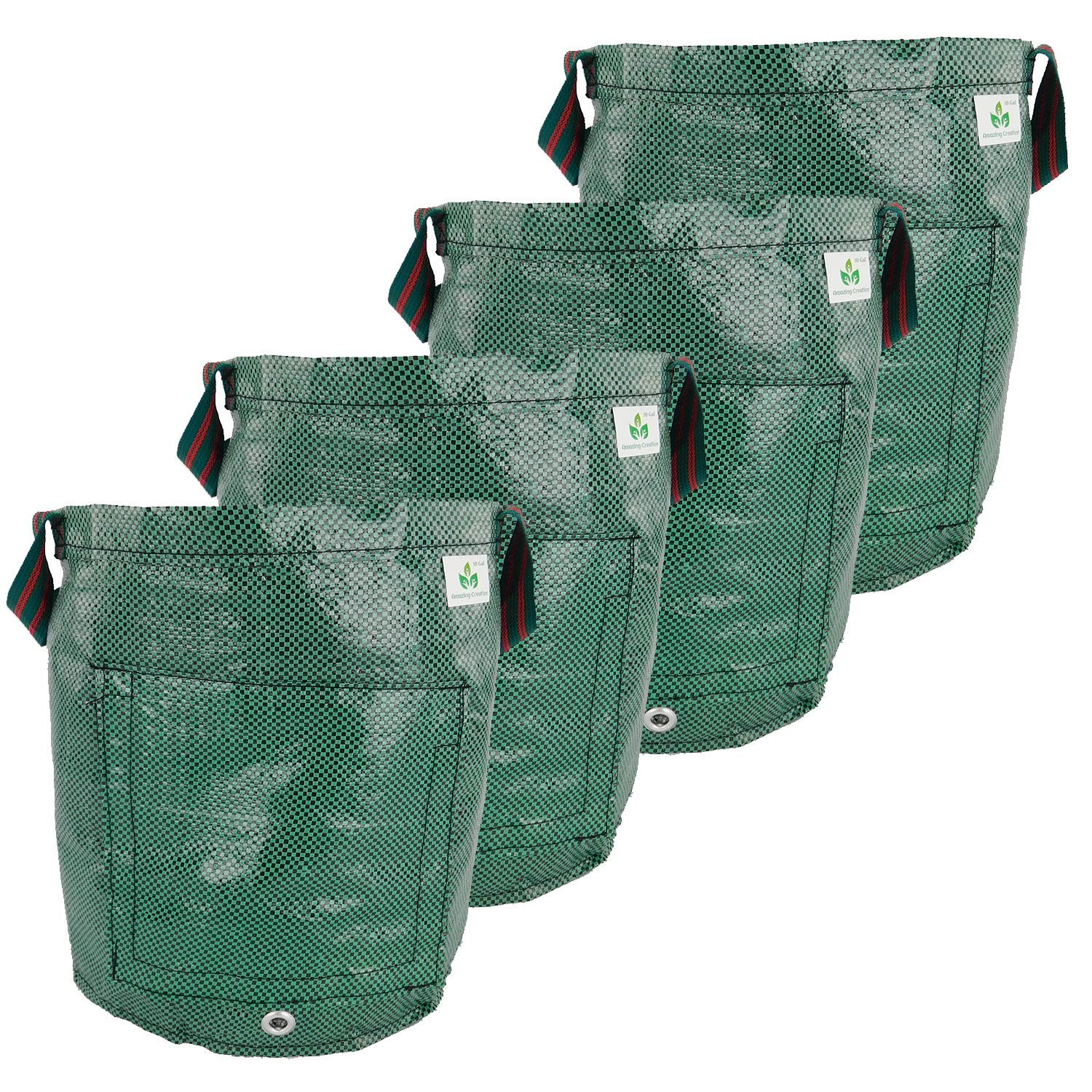 Amazing Creation Garden Potato Grow Bags (Pack of 4) 10 Gallon Heavy Duty Planting Pot with Access Flap for Harvesting Potatoes, Onions, Carrots, Radishes, Parsnips and More