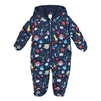 Bluezoo Kids Baby Boys Blue Space Print Padded Snowsuit 6 9 Months