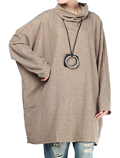 Qiusa Sudaderas de murciélago extragrandes con Cuello Alto y Cuello Alto y Camiseta Holgada (Color
