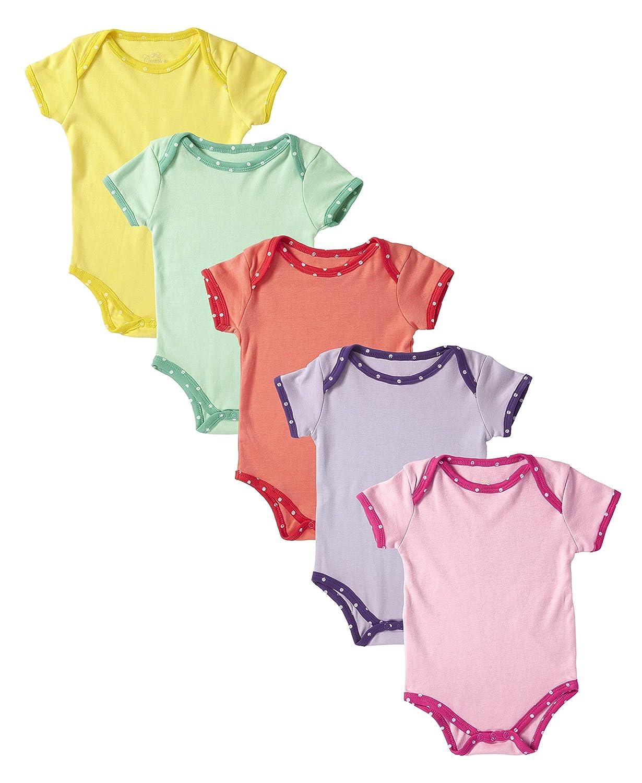 8ad903aa1 Amazon.com  Cremson Unisex Baby Cotton 5 Pack Short Sleeve Bodysuits ...