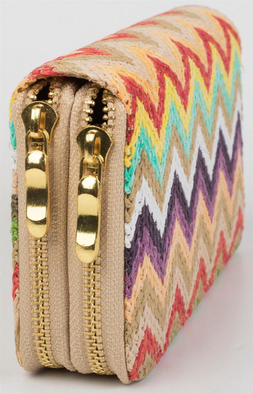 1578767c81 styleBREAKER portamonete con motivo colorato a zigzag in design etnico,  chiusura con cerniera, portamonete, donna 02040049,  colore:Beige-Multicolore: ...