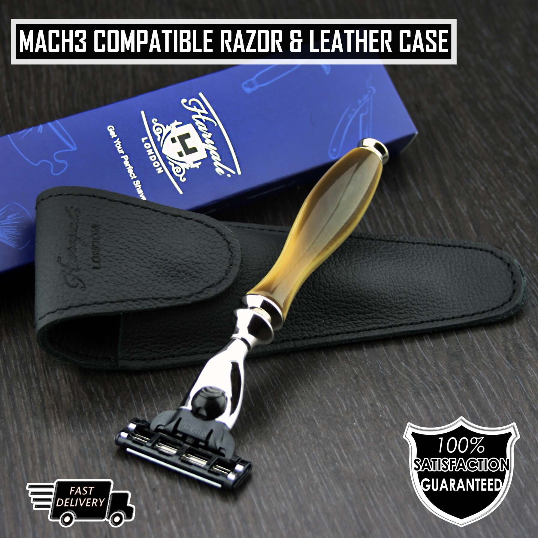 Men's Shaving Razor Gillette Mach3 Compatible Razor with Horn Replica Handle | Men's Shaving & Grooming Essentials | Gift for Him